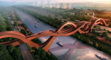 Pod pietonal triplu, spiralat, in China