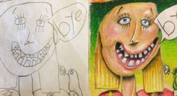 Desenele copiilor, colorate de tata