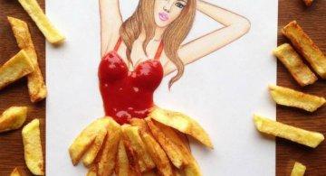 Moda bizara cu alimente, in ilustratii 3D