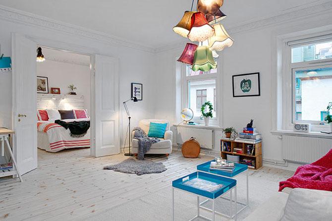 Un apartament ca un curcubeu pe fundal alb, in Suedia - Poza 1