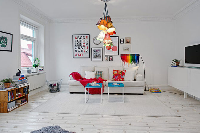 Un apartament ca un curcubeu pe fundal alb, in Suedia - Poza 2