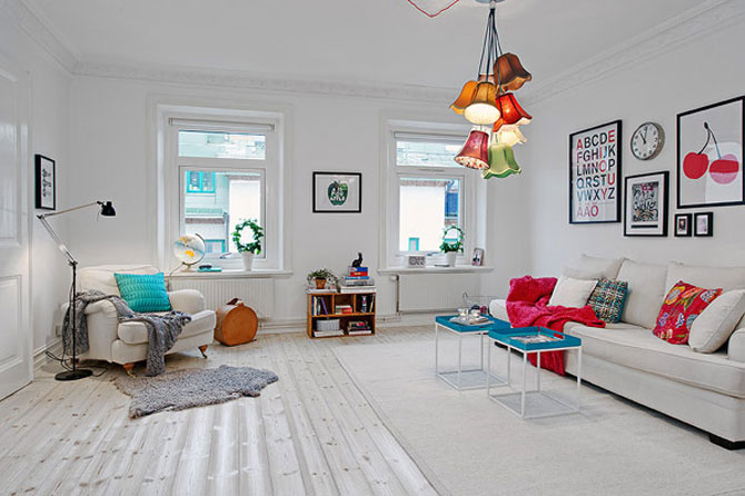Un apartament ca un curcubeu pe fundal alb, in Suedia - Poza 3