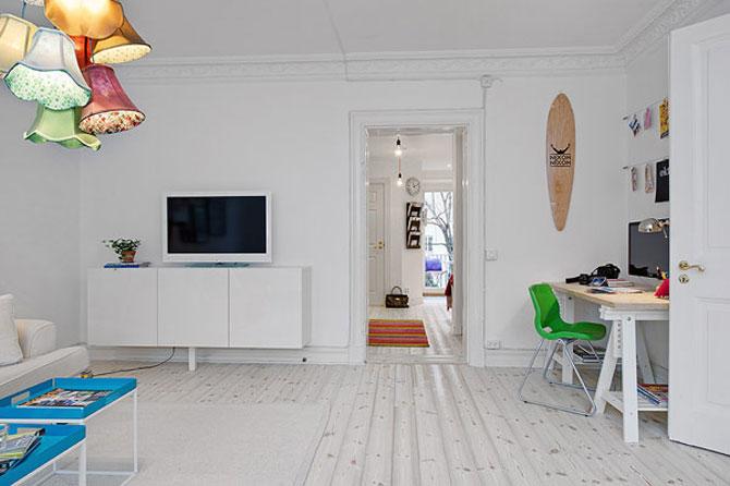 Un apartament ca un curcubeu pe fundal alb, in Suedia - Poza 4