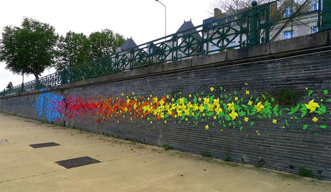 Arta urbana cu origami, la Angers, Franta - Poza 2
