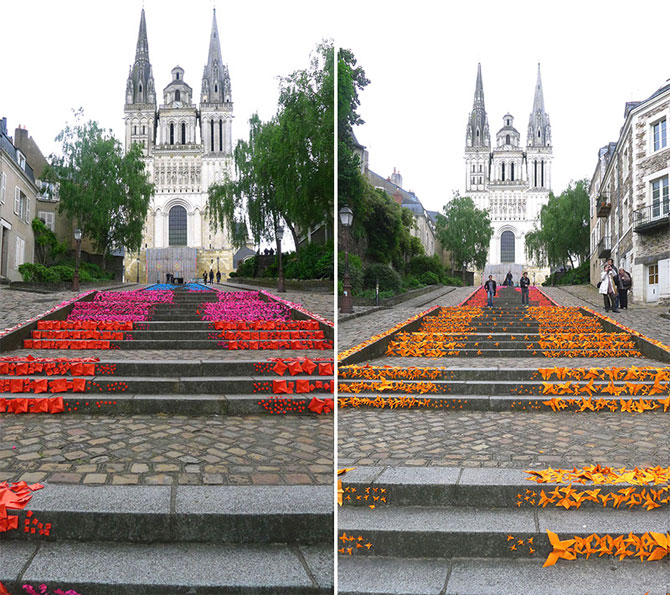 Arta urbana cu origami, la Angers, Franta - Poza 5