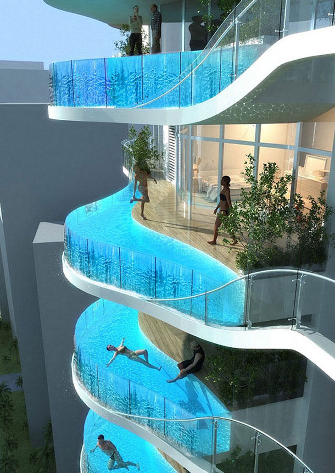 Turnul cu piscine in balcon - Poza 1