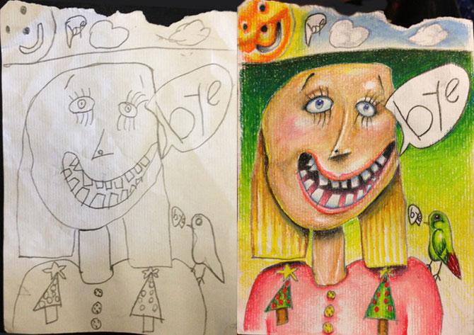 Desenele copiilor, colorate de tata - Poza 1