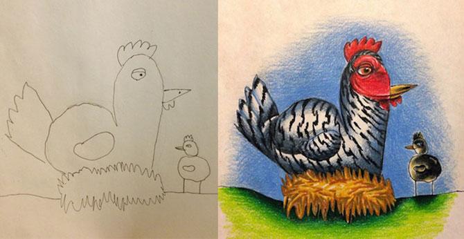 Desenele copiilor, colorate de tata - Poza 2