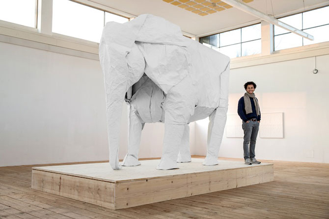 Elefant-origami, dintr-o singura coala de hartie - Poza 3