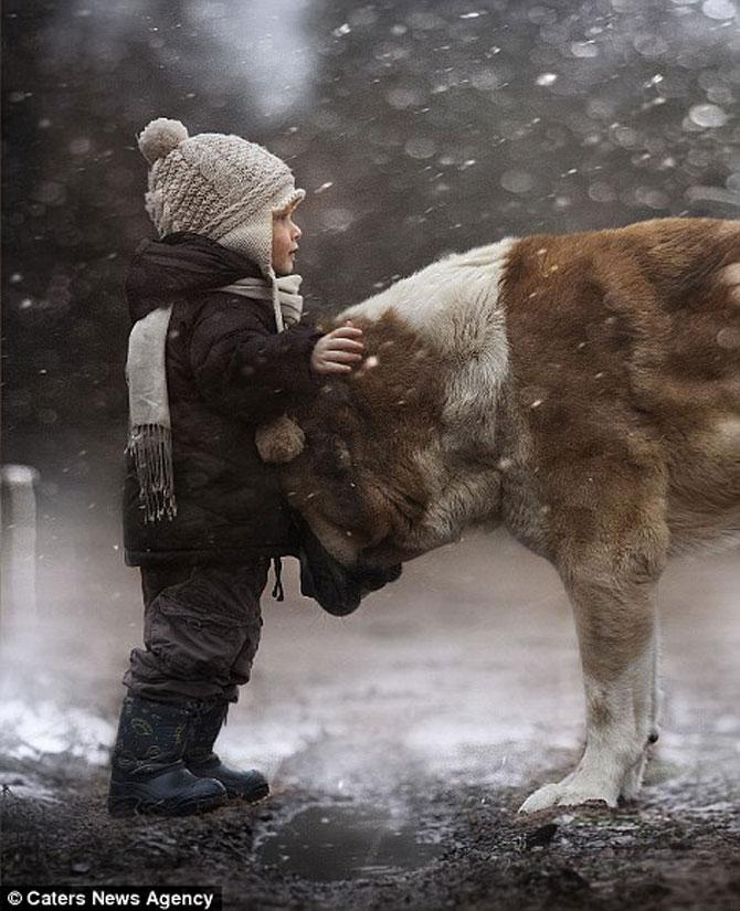 Superba prietenie dintre copiii si animalele Elenei Shumilova - Poza 6