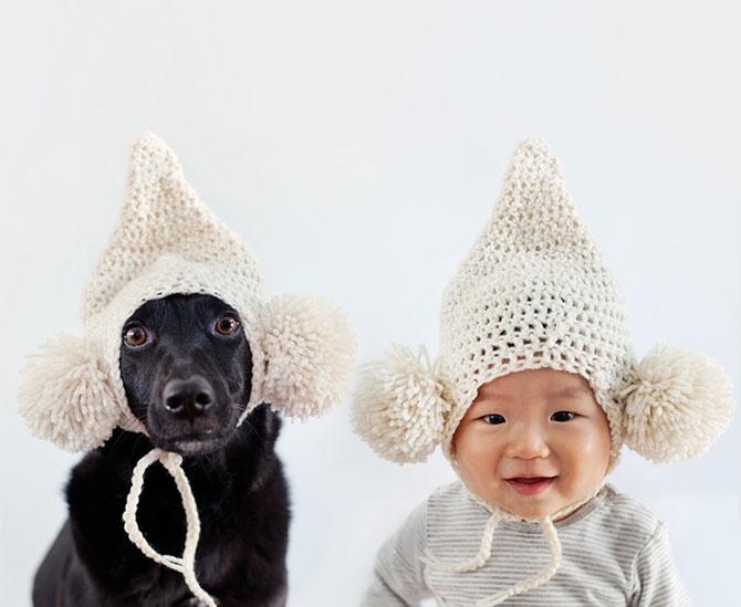 Poze la indigo, cu un copil si un catel - Poza 7