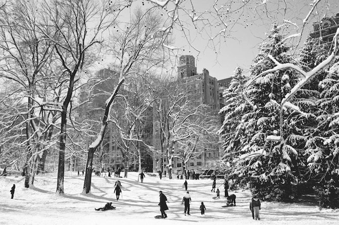 Central Park, New York, dupa viscol