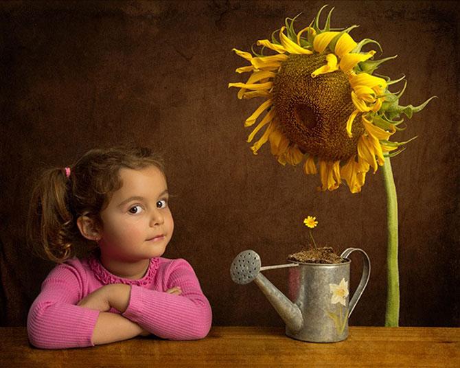 Tatal care si-a fotografiat fetita in stil de tablou clasic - Poza 4