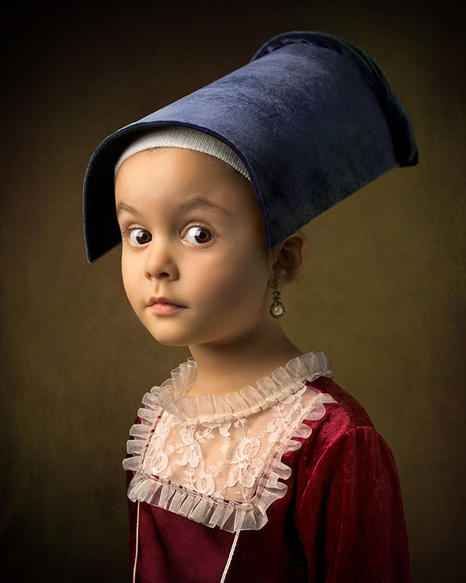 Tatal care si-a fotografiat fetita in stil de tablou clasic - Poza 5