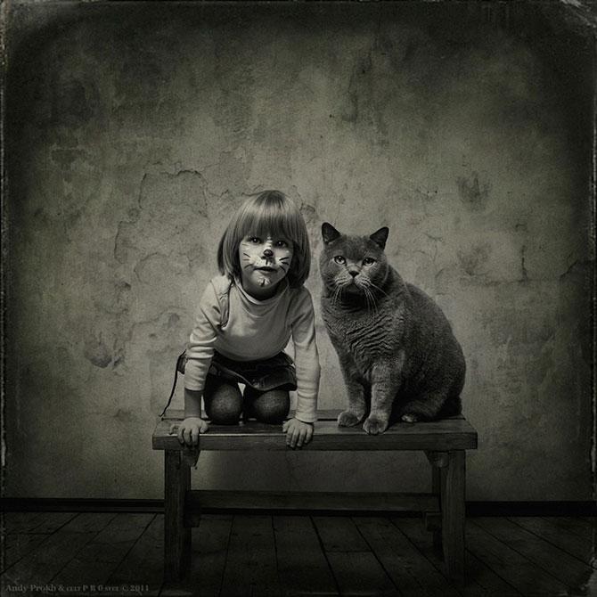 Prietenia dintre o fetita si pisica ei, de Andy Prokh - Poza 1