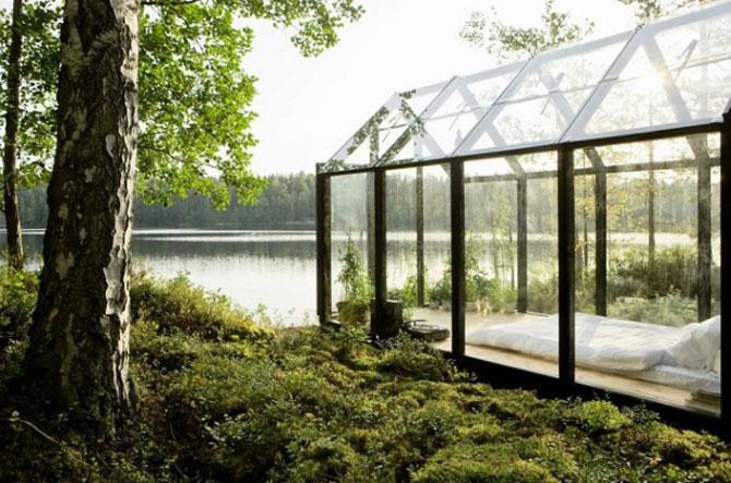 Cabana de gradina din sticla, cu priveliste la lac si padure - Poza 2
