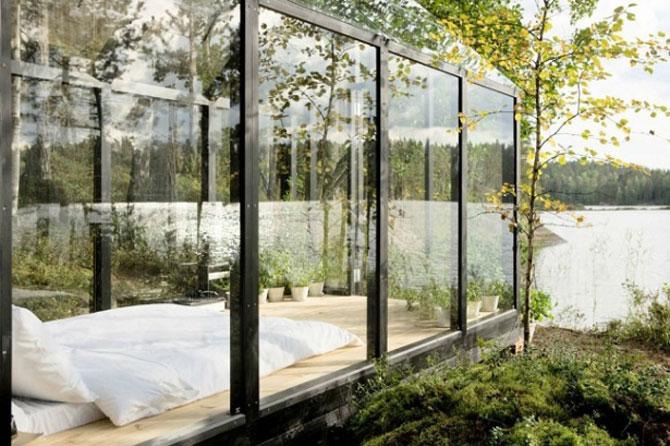 Cabana de gradina din sticla, cu priveliste la lac si padure - Poza 3