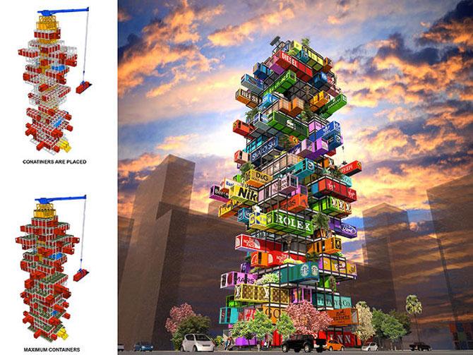 Proiect de hotel din containere multicolore - Poza 1