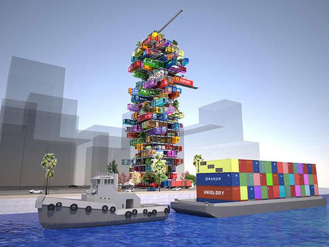 Proiect de hotel din containere multicolore - Poza 2