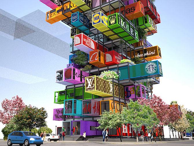 Proiect de hotel din containere multicolore - Poza 3