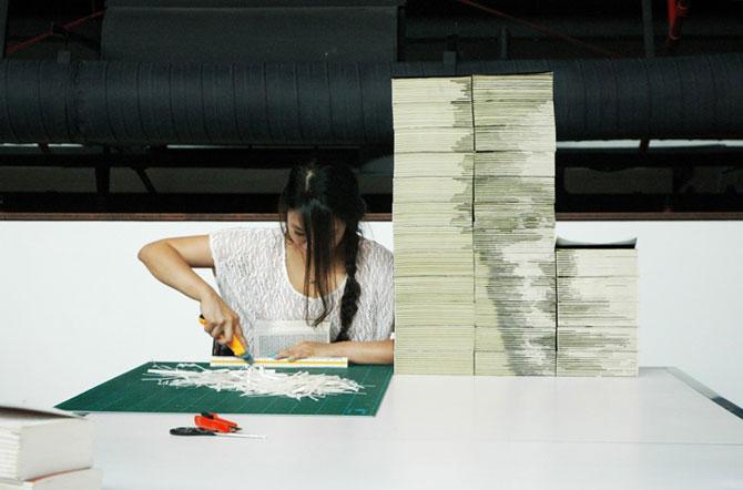 Chipul din carti: Portretul lui Mark Zuckerbeg sculptat in carti - Poza 4