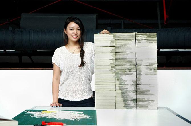 Chipul din carti: Portretul lui Mark Zuckerbeg sculptat in carti - Poza 6