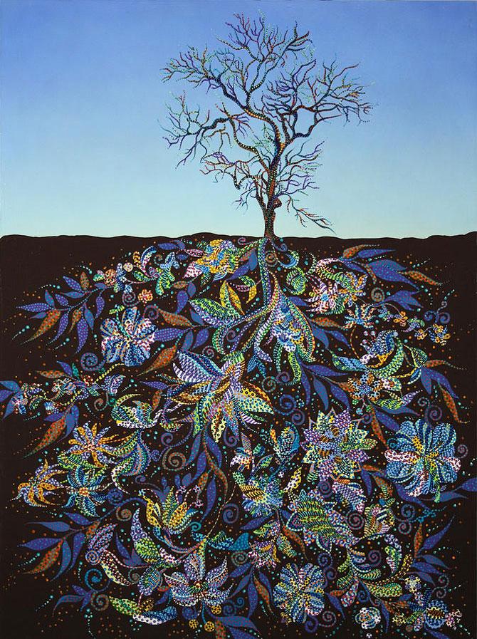 Copaci pictati cu coroanele sub pamant - Poza 2
