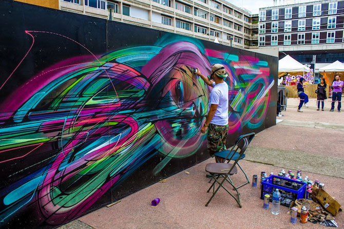 Portret multicolor in graffiti, de Hopare - Poza 3
