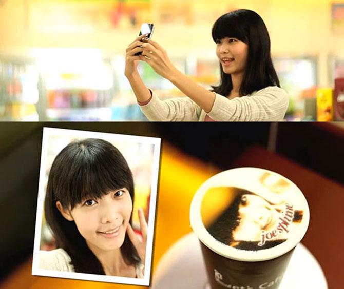Reclama cu portrete in cafea in Taiwan - Poza 1