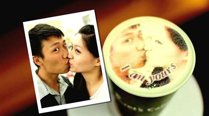 Reclama cu portrete in cafea in Taiwan - Poza 4