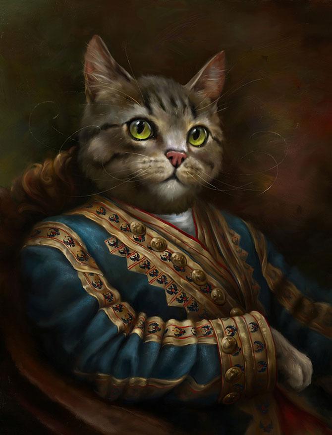 Pisici nobile, pictate de Eldar Zakirov - Poza 3