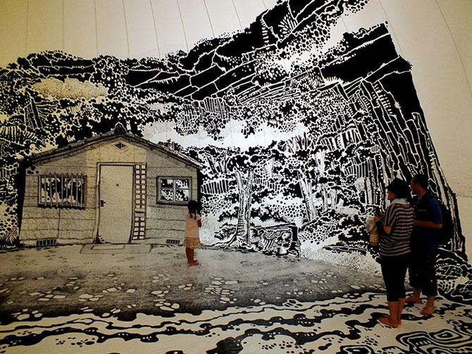 Oscar Oiwa a desenat o insula pe peretii unei scoli - Poza 1