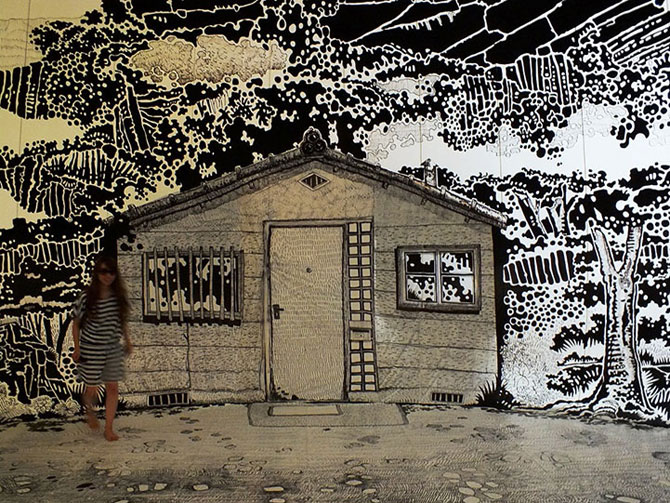 Oscar Oiwa a desenat o insula pe peretii unei scoli - Poza 3