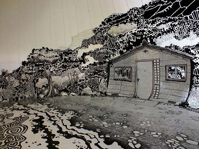 Oscar Oiwa a desenat o insula pe peretii unei scoli - Poza 4