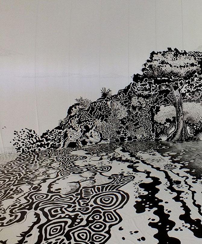 Oscar Oiwa a desenat o insula pe peretii unei scoli - Poza 5