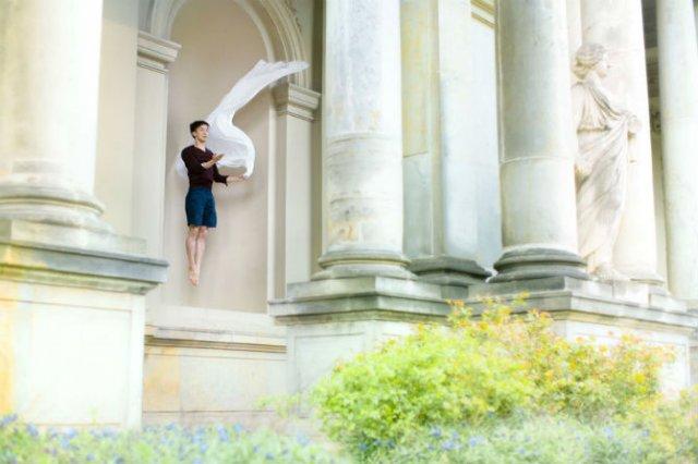 Dansand prin aer: Ipoztazele unui artist care sfideaza gravitatia