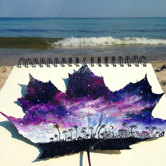 Franturi de lume desenate pe frunze