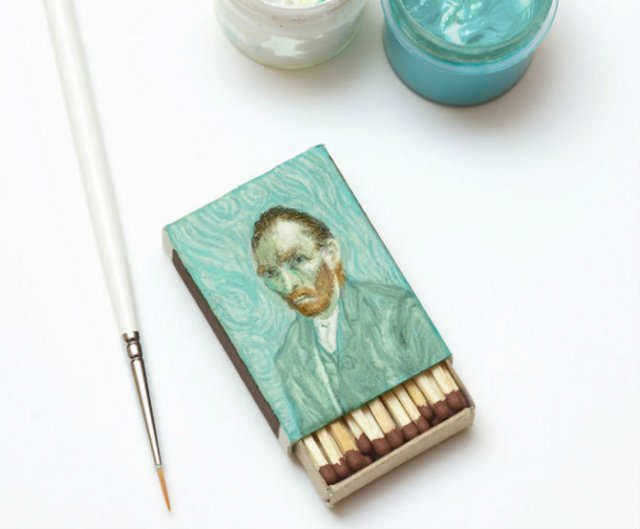 Van Gogh, pe cutii de chibrituri, in picturi miniaturale - Poza 1