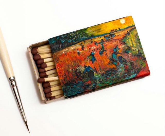Van Gogh, pe cutii de chibrituri, in picturi miniaturale - Poza 3