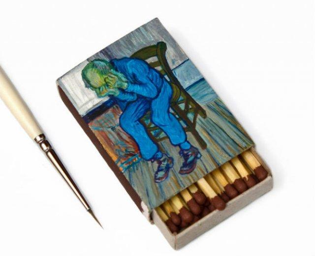 Van Gogh, pe cutii de chibrituri, in picturi miniaturale - Poza 4