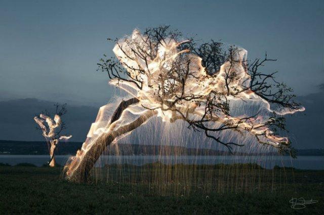 Sculpturi temporare: Copaci invaluiti in scantei - Poza 1