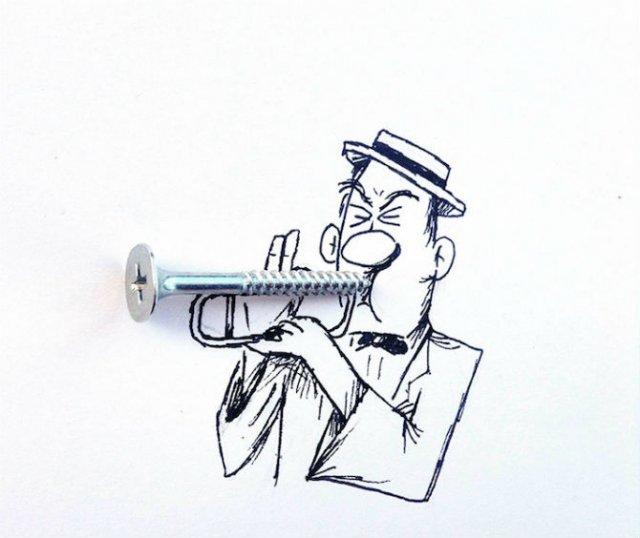 Obiecte banale transformate in ilustratii haioase - Poza 14