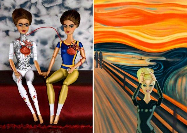 Barbie invadeaza picturi celebre pentru a readuce femeia in istoria ar - Poza 3