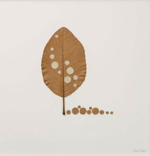 Toamna se impletesc contrastele: Ornamente crosetate in frunze uscate - Poza 14