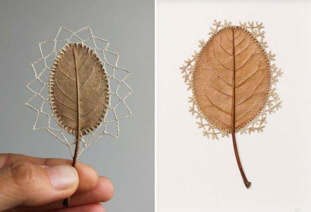 Toamna se impletesc contrastele: Ornamente crosetate in frunze uscate - Poza 2