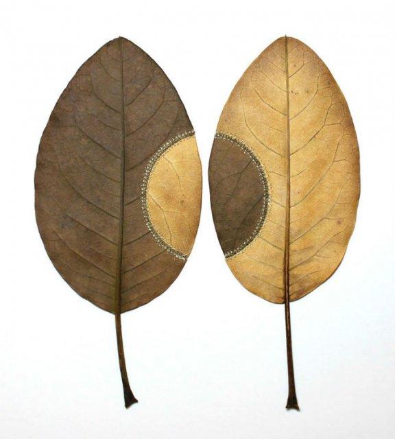 Toamna se impletesc contrastele: Ornamente crosetate in frunze uscate - Poza 6