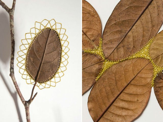 Toamna se impletesc contrastele: Ornamente crosetate in frunze uscate - Poza 8