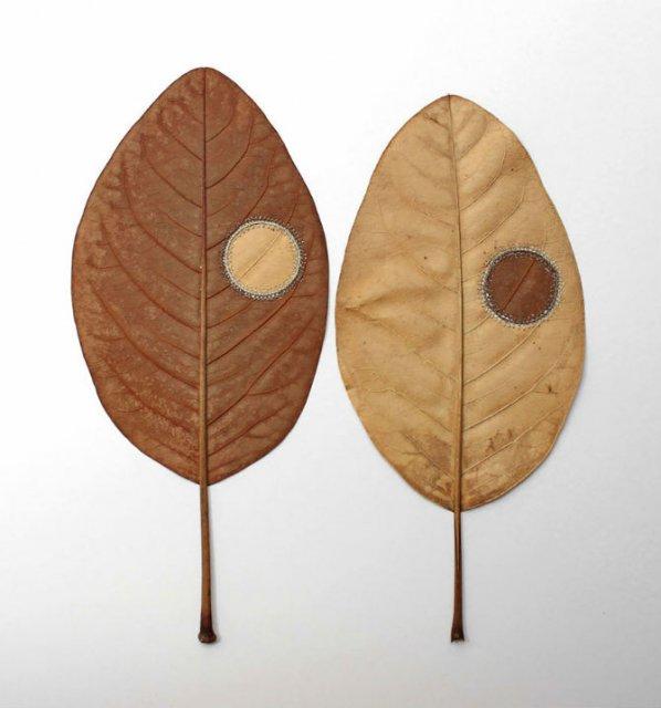 Toamna se impletesc contrastele: Ornamente crosetate in frunze uscate - Poza 9