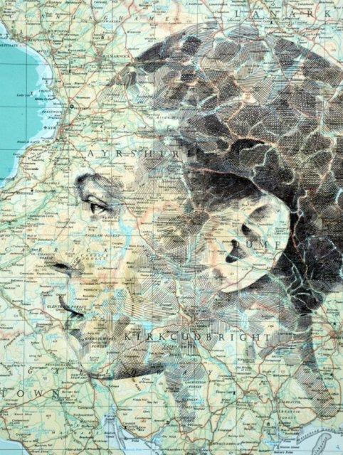 11 Chipuri umane realizate din harti vechi - Poza 1