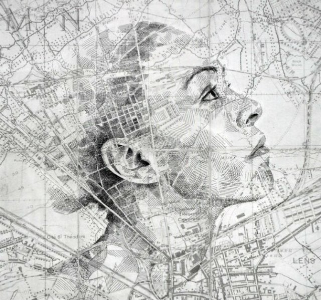 11 Chipuri umane realizate din harti vechi - Poza 10